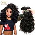 4 Unids Kinky Curly Hair Extensions Peruanos 7a Barato Buena Onda Rizada Profunda Del Pelo Virginal Peruano Sin Procesar Del Pelo Humano Bundles