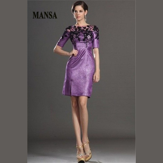 8246b798914 2015 Gorgeous Short Knee Length Mother Of The Bride Lace Dresses Purple  Mother Bride Evening Gowns 100%Guarantee Satisfaction