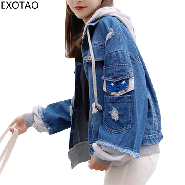 0169a6303424c EXOTAO Design Pocket Sleeve Hoody Denim Jackets Women Patchwork Jeans Basic Coats  Female BF Streetwear Chaquetas Autumn Jaqueta