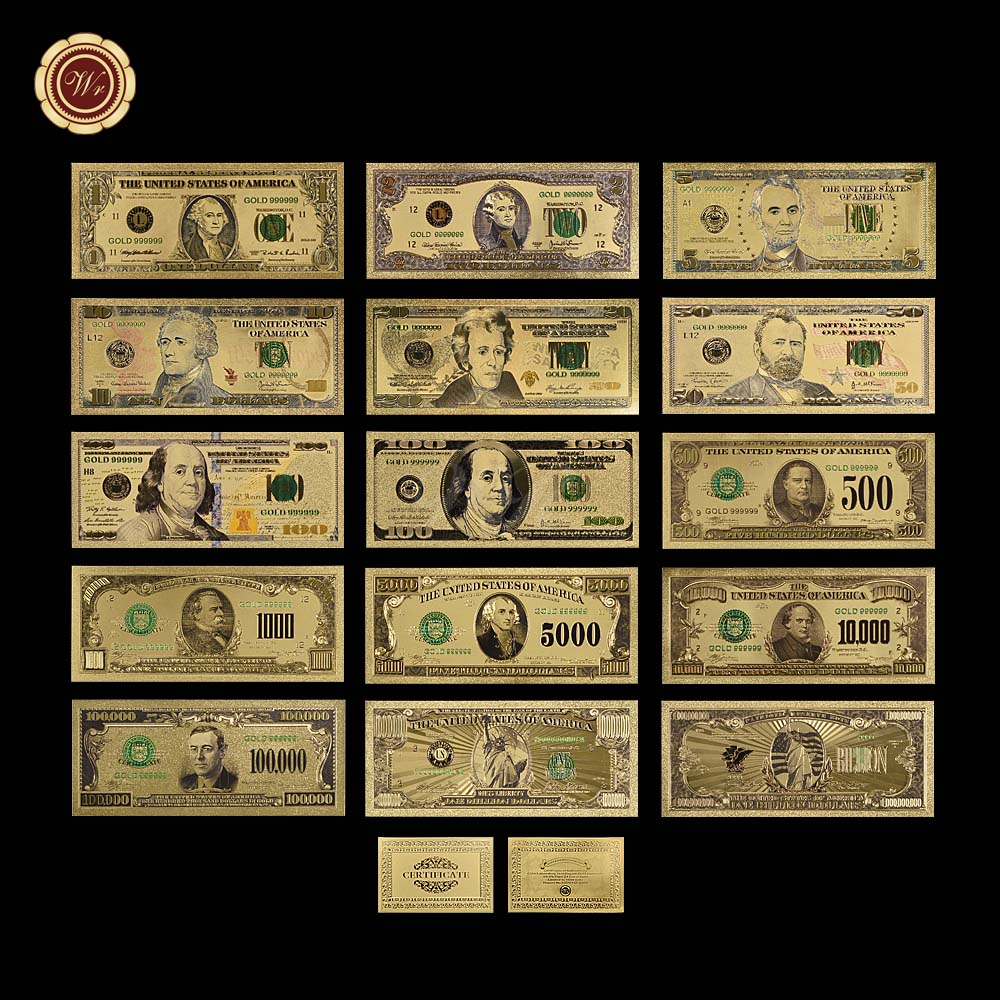 Gold banknote set 1 2 5 10 20 50 100 500 1000 5000 10000 for 100000 dollar house