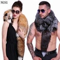 Real Full Fur Skin Scarf Women Red Fox Scarves Shawls Man Natural Soft Big Silver Fox