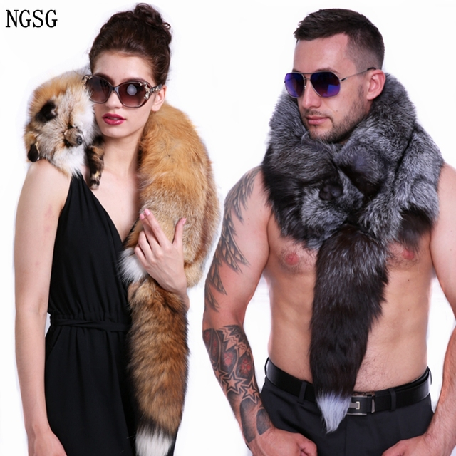 Men's Real Fur Fox Scarf Woman Winter Warm Natural  Fur Shawl Soft Headscarf  Super big Gray Silver Fox Scarf  Fur Accessories