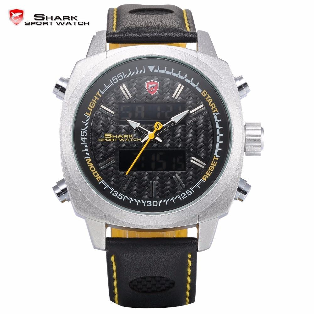 Silvertip Shark Sport Watch Yellow Men's Digital Dual Time Date Stopwatch Alarm Quartz Leather Strap Running Wristwatch / SH491