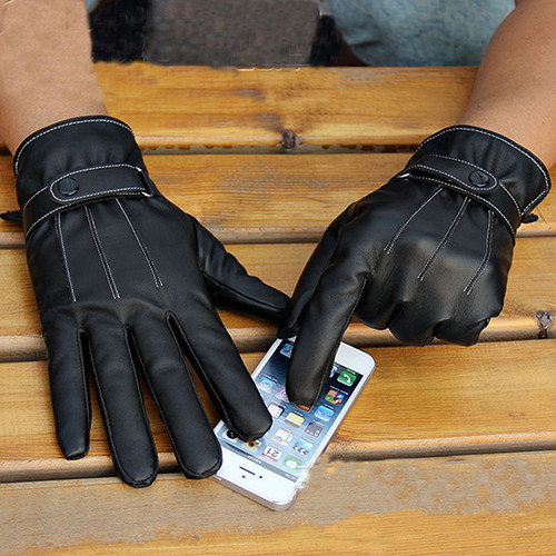 Warm and Comfortable Men Touch Screen Gloves made of Faux Leather with Conductive Fiber Suitable for Bike Riding and Cycling 8
