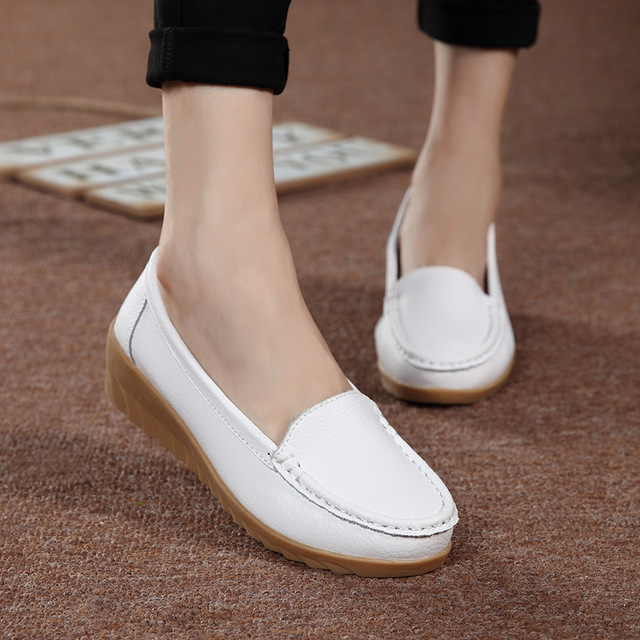 Women's Shoes Non Slip Leather Loafers Comfortable Woman Flats Mocassins Solid Ladies Casual Shoe Pregnant Footwear