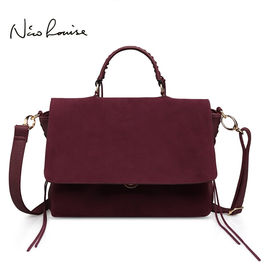 Latest Women Suede Split Leather Shoulder Bag Fashion Lady Saddle Handbag Casual Hobo Messenger Crossbody Top-handle Bags Bolsa lacattura small bag women messenger bags split leather handbag lady tassels chain shoulder bag crossbody for girls summer colors