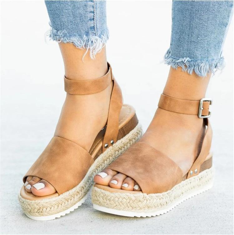 HTB1E0t2N9zqK1RjSZFpq6ykSXXas 2019 Summer Womens Casual Espadrilles Trim Rubber Sole Flatform Studded Wedge Buckle Ankle Strap Open Toe Sandals
