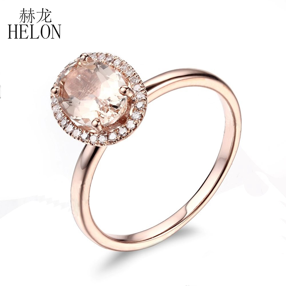 Fine Jewellery Responsible 10k Rose Gold Morganite Diamonds Women Milgrain Gemstone Jewellery Wedding Ring Fine Rings