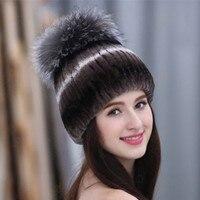 Mulheres chapéu para o inverno genuínas chapéus de pele de vison com fox prata poms do pom da pele de pele de malha gorros 2016 new venda chapéus de pele