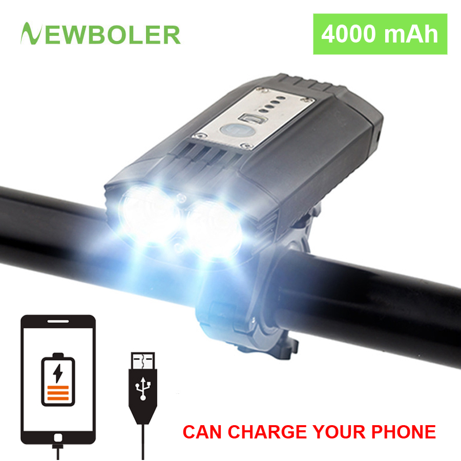 NEWBOLER 2400LM Flashlight For Bicycle Power Bank USB Rechargeable 4000mAh MTB Bike Light Front 2*T6 LED Built-in 18650 Battery