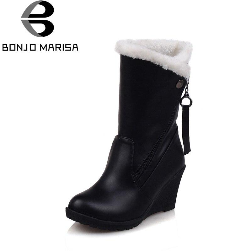 все цены на BONJOMARISA Winter Fashion Plus Size 30-52 Fur Platform Mid-calf Woman Boots With Zip Faux Fur High Wedges Women Shoes