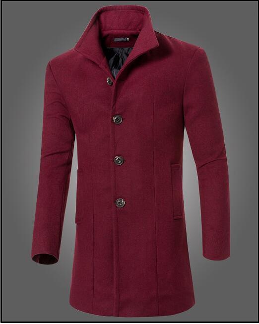 Men Spring Autumn Slim Wool Coat Business Stand collar Man Woolen Coat Winter Warm Trench Coats