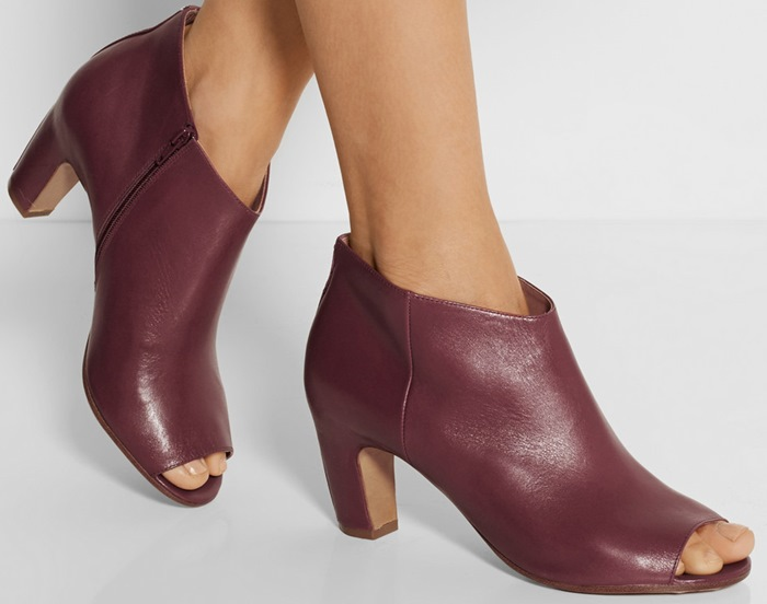 Women elegant wine red leather ankle boots charming peep toe design graceful arc short boots middle heel female dress shoes woma