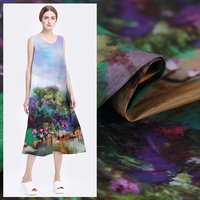 140cm digital inkjet linen fabric dress cheongsam silk linen fabric chinese silk fabric wholesale linen cloth