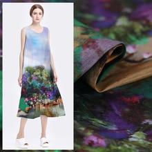 140cm digital inkjet linen fabric dress cheongsam silk chinese wholesale cloth