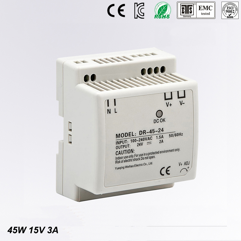 DR-45-15 LED Din Rail mounted Power Supply Transformer 110V 220V AC to DC 15V 3A 45W Output Free Shipping low price switching power supply led din rail mounted power supply transformer 110v 220v ac to dc 5v 12v 15v 24v 48v 45w output