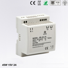 цена на DR-45-15 LED Din Rail mounted Power Supply Transformer 110V 220V AC to DC 15V 3A 45W Output Free Shipping