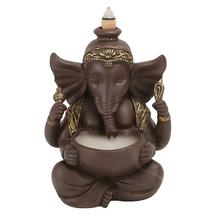 Buddhist Ganesha Backflow Incense Burner Elephant God Emblem Auspicious And Success Ceramic Cone Censer Home Decor