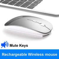 Do Dower mysz bezprzewodowa na akumulator Slient Button USB Mini optyczne ultracienkie myszy z kablem ładującym Do komputera przenośnego