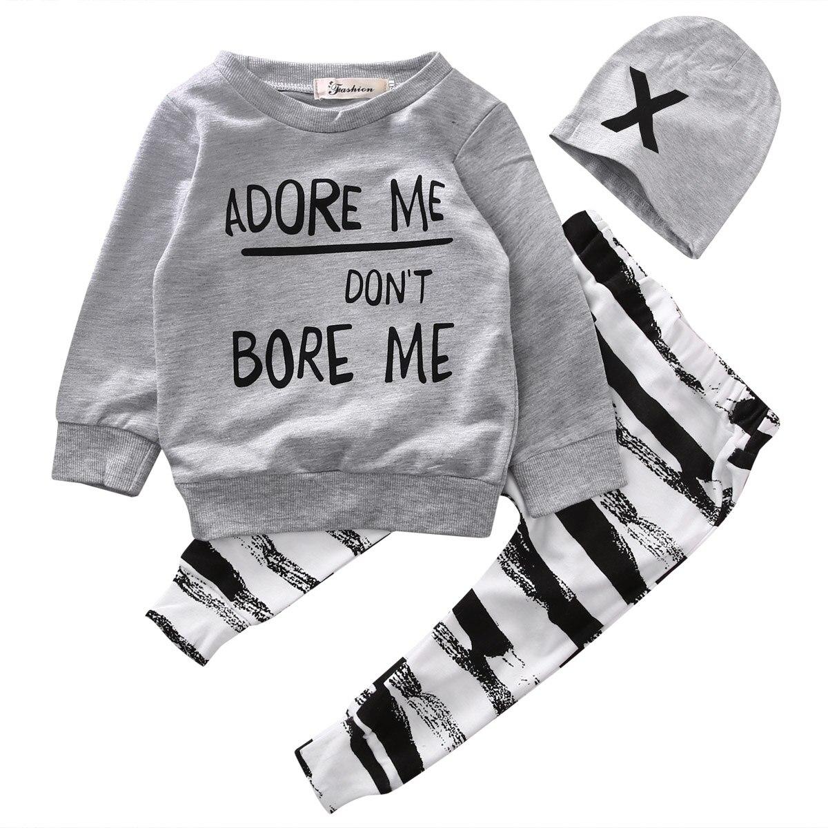Newborn Baby Boy Girls Long Sleeve Tops +Long Pants Hat 3PCS Outfits Set Clothes
