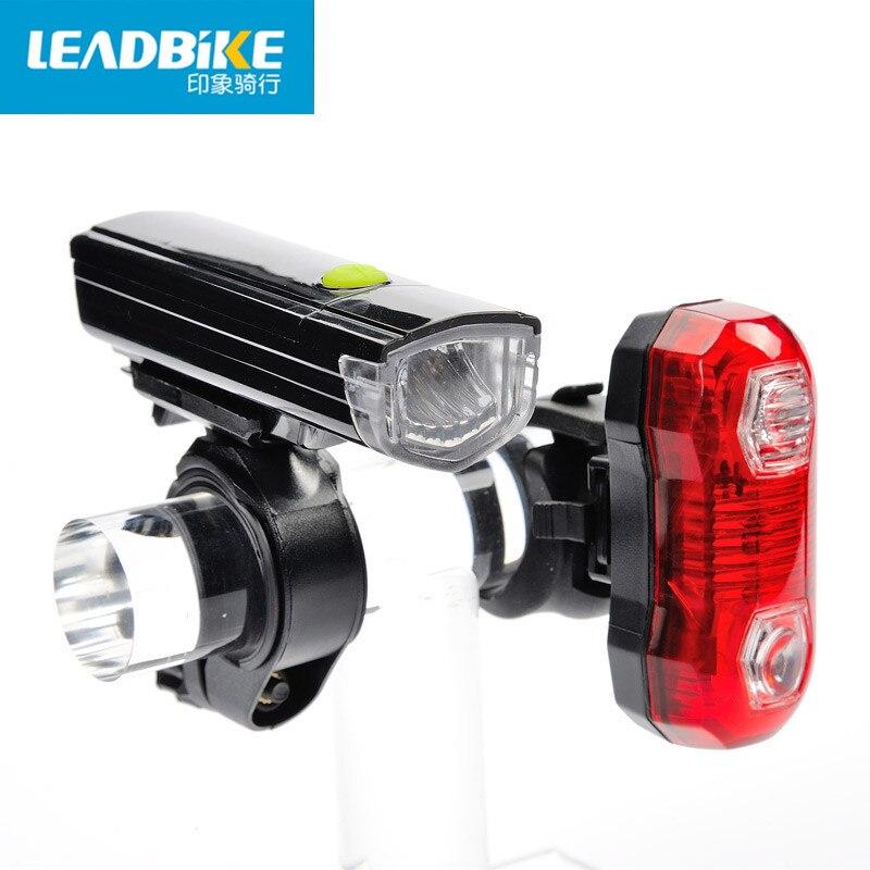 Leadbike Waterproof LED Bicycle Light Set Bike Front Head Light Cycling Flashlight + Rear Safety Flashlight Taillight