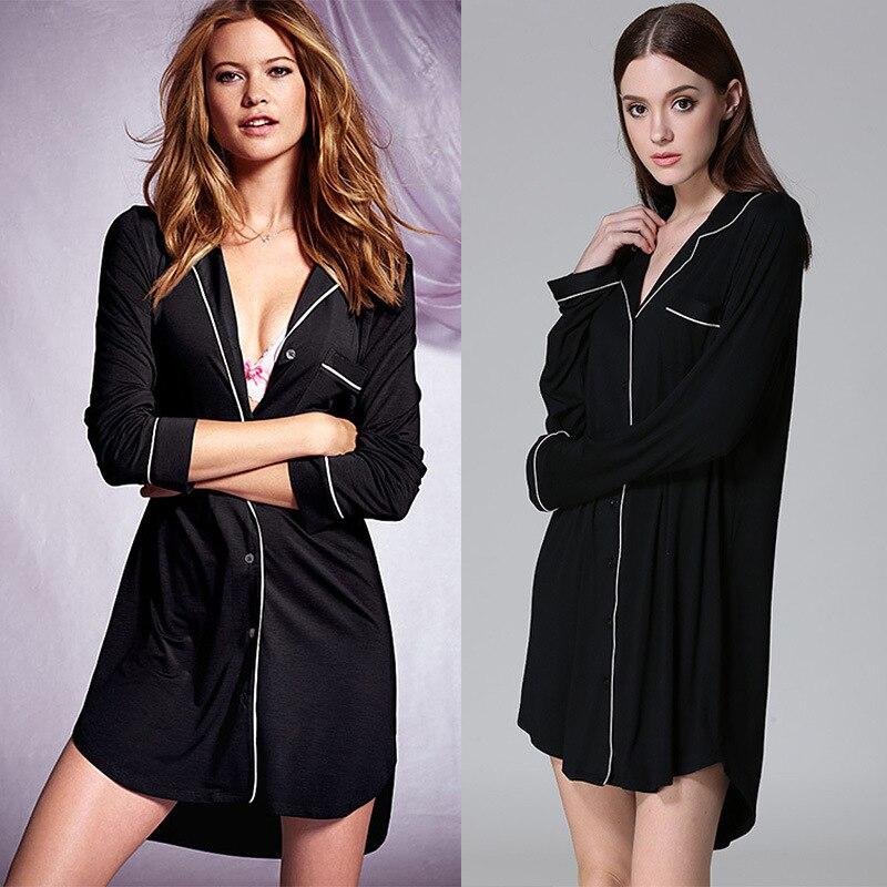Chemises de nuit pour femmes femmes chemise de nuit à manches longues col en v col rabattu bouton avant chemise de nuit Sexy Lingerie robe de nuit