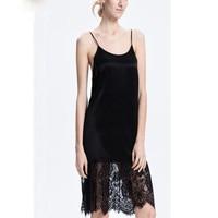 Ladies Sexy Silk Sleepwear Satin Nightgown Women Nightdress Slip Nighties Summer Night Dress Lace Patchwork Night Gown Lingerie