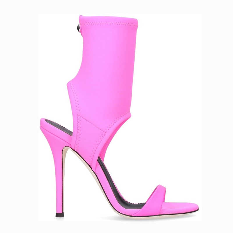 Şeker renk yüksek topuklu yarım çizmeler bayanlar Slip-On burnu açık yaz ayakkabı kadınlar 2018 yeni streç parti sandalet feminina