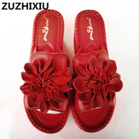 New 2017 Summer Genuine Leather Nation Style Women Cool Slippers High Slope Muffin Thick Bottom Increased