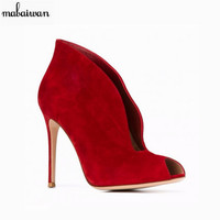 2017 Fashion Women Shoes Ankle Boots Red Short Boots Valentine Shoes Women Pumps Female Thin High