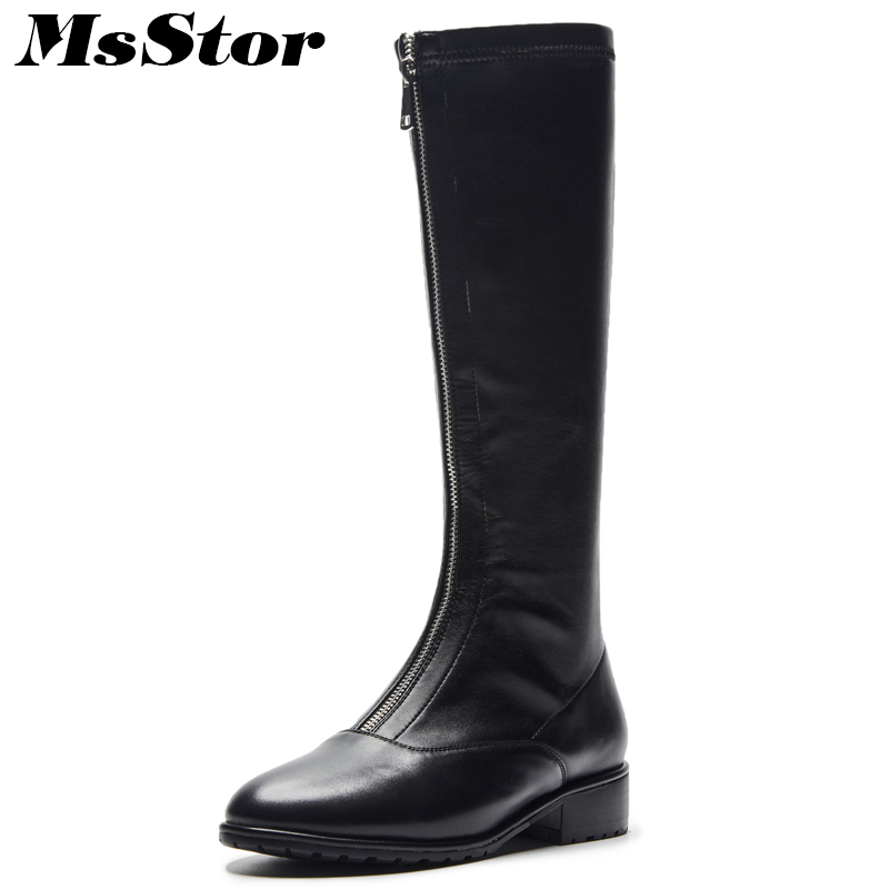 MsStor Women Boots Round Toe Low Heel Knee High Boots Winter Shoes Genuine Leather Zipper Square heel Black Boot Shoes For Girl vintage women genuine real leather knee boots winter boot sexy square heel round toe zipper fashion women boots shoes size 33 40