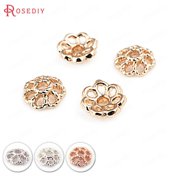 20PCS 8MM 24K Gold Color Silver Rose Brass Beads Caps High Quality Diy Jewelry Findings Accessories