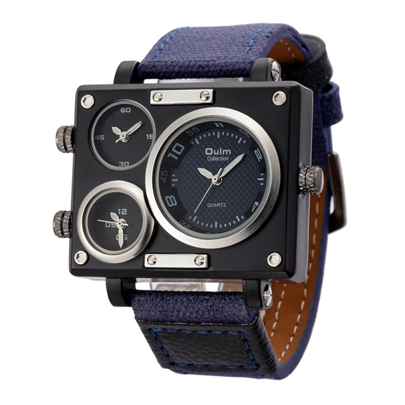 Prix pour Oulm bracelet en tissu mâle carré montre hommes montres top marque de luxe montres célèbre marque designer horloge casual homme heures 2017