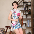 Women Short Slim Cheongsam Dress Female Summer Chinese Traditional Dress Printing Flower Short Sleeve Linen Vintage Qipao  18