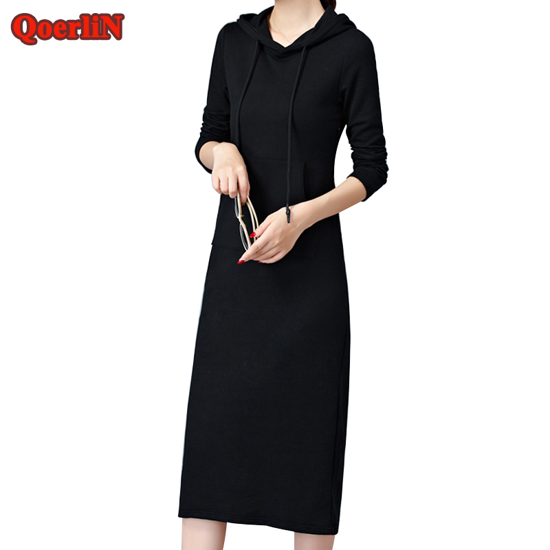 QoerliN Plus Size S-2XL Hoodies Pocket Knitted Dress Womens Autumn Winter Long Solid Long Sleeve Dresses Lady Maxi Vestidos Girl plus size double pockets knitted dress