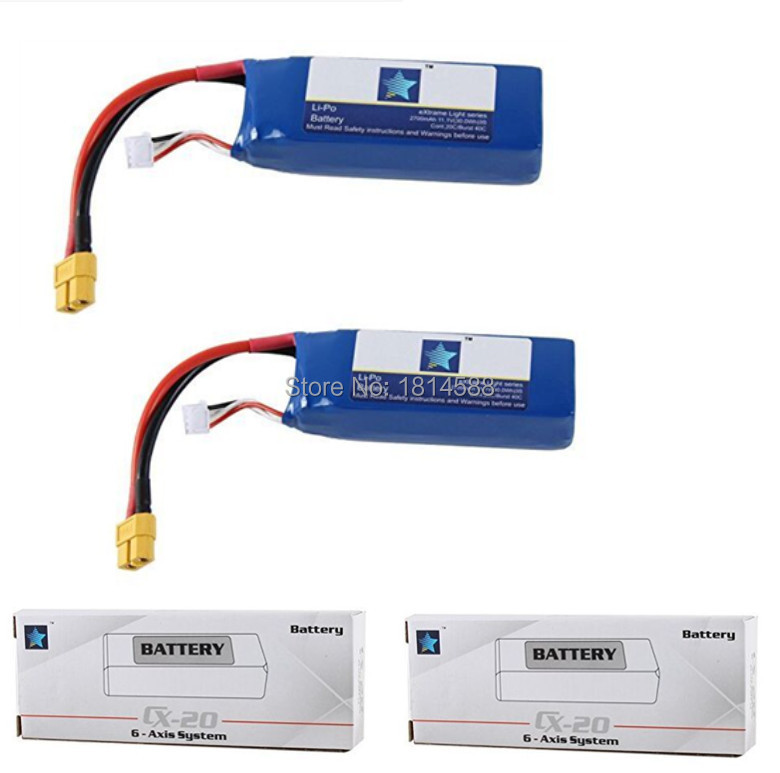 2PCS <font><b>Battery</b></font> <font><b>11.1V</b></font> <font><b>2700mAh</b></font> <font><b>Lipo</b></font> <font><b>Battery</b></font> For CX-20 Auto-pathfinder RC GPS Quadcopter Cheerson CX20 Original Parts CX-20-014 image