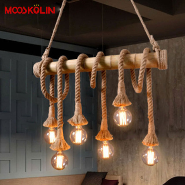 2017 Hot Sale Vintage Rope Hemp Pendant Lights Fixtures Home Deco  Industrial Edison Bulbs Ceiling Hanging Lamps For Living Room