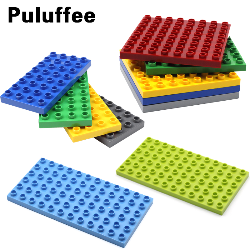 128 144 404 512 dots baseplate Set Assemble Brick Big Particle Building Blocks accessory Compatible with Duplo Baby DIY Toy gift big bricks building blocks base plate 51 25 5cm 32 16 dots baseplate diy bricks toy compatible with major brand blocks