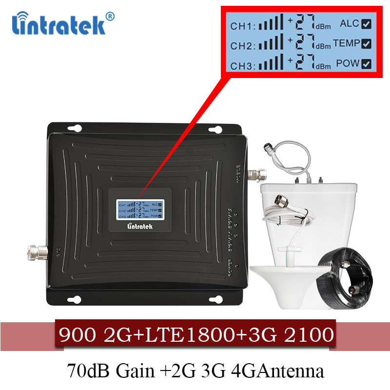 Lintratek cellular Signal Booster 900 1800 2100 GSM Tri Band Amplifier Mobile Signal Repeater DCS WCDMA
