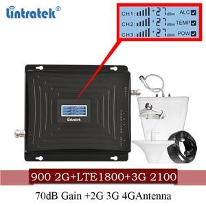 Image 1 - Lintratek الخلوية إشارة الداعم 900 1800 2100 GSM ثلاثي الفرقة مكبر للصوت موبايل مكرر إشارة DCS WCDMA 2G 3G 4G LTE هوائي #40