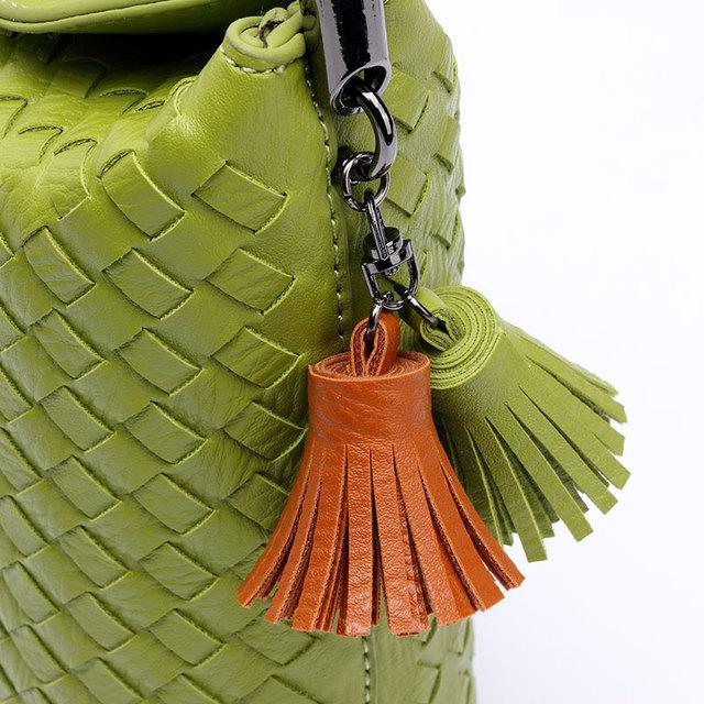SUIVEA Brand Women Handbags Fashion  2017 Fashion Bucket Handbag Female PU Leather Tassel Chain Women Shoulder Weave Color Bag