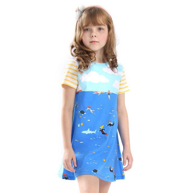 Little Bitty Baby Girls Dresses Blue Cloud Cotton Clothes Children 3