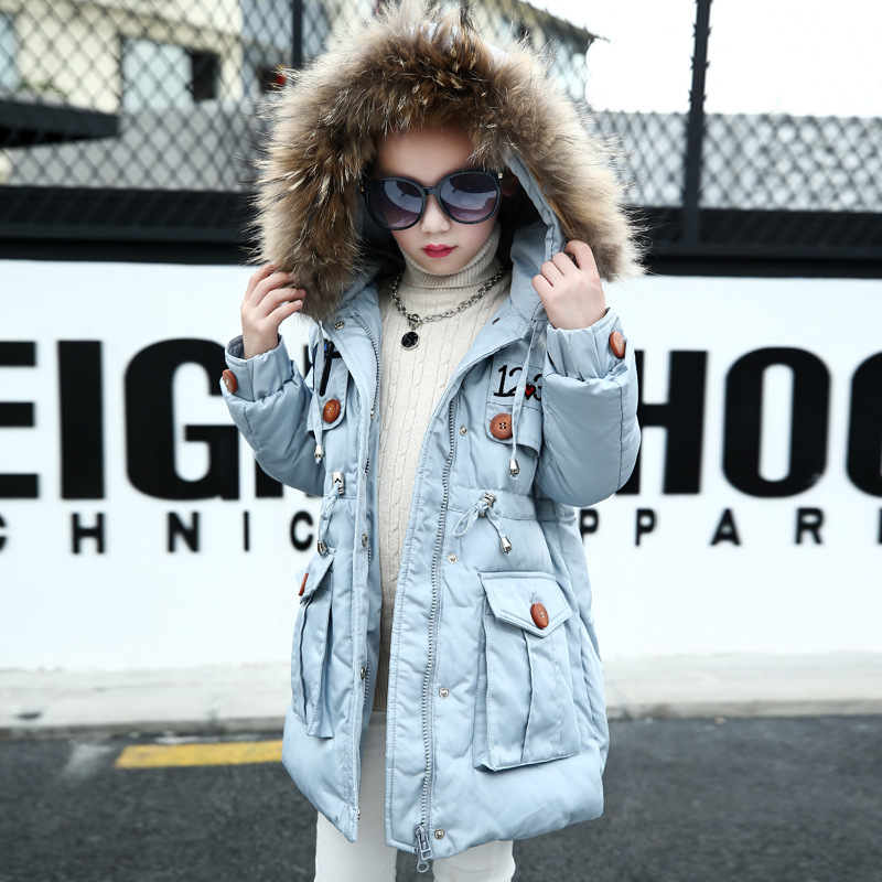 726d5555b332 New Girls Winter Coat Thickness Solid Color Kids Winter Jacket ...