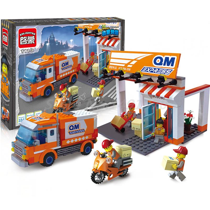 Enligthen 337Pcs Building Blocks City Express Delivery Truck Courier Station Model Bricks Fast Mail Courier Toys for Children enlighten city express station truck building blocks set courier minifigures kids educational toys compatible with legoep