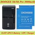 1LOT =1PC Universal Charger +2PCS Original 3000mAh DOOGEE X6 Battery For  Doogee X6 Pro Batterie Bateria AKKU ACCU PIL
