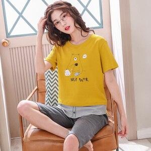 Image 3 - Pijamas de algodón con dibujos animados para mujer, ropa de 100% de manga corta con cuello redondo, M XXL de talla grande