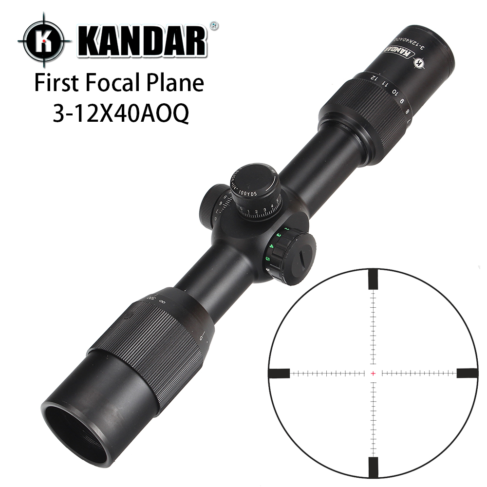 KANDAR 3 12X40 AOQ First Focal Plane Hunting Riflescopes Red Green Illuminated P4 Glass Etched Reticle