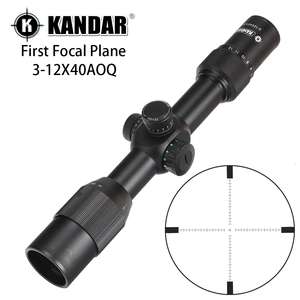 KANDAR 3-12X40 AOQ First Focal Plane Hunting Riflescopes Red Green Illuminated P4 Glass Etched Reticle Turrets Lock Scope(China)