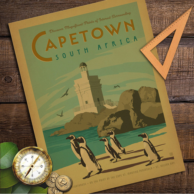 Penguin Cape Town South Africa Vintage Retro Poster Kraft Paper Wall Sticker Art Antique Painting Living