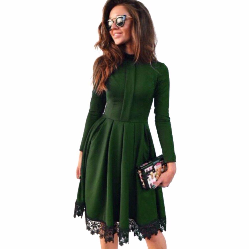 горячая осень 2017 г. новинка зимы модные женские туфли в винтажном стиле, с длинным рукавом кружева лоскутное тонкий макси одежда для вечеринок большие размеры